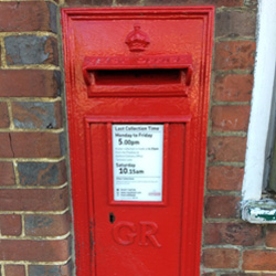 G R Post box attached to Egerton village shop/Post office